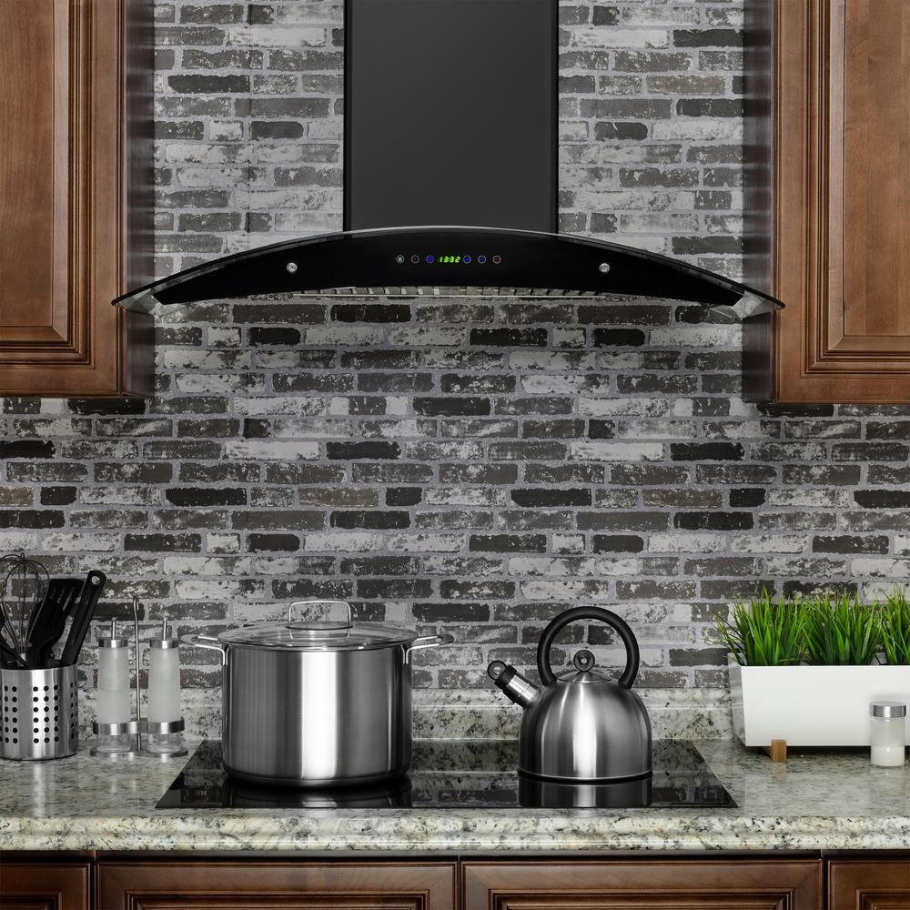 Akdy 36 In Convertible Wall Mount Range Hood In Black Painted Stainless Steel With Tempered Glass And Remote Control Rh0318ds The Home Depot Kitchen Range Hood Wall Mount Range Hood Range Hood