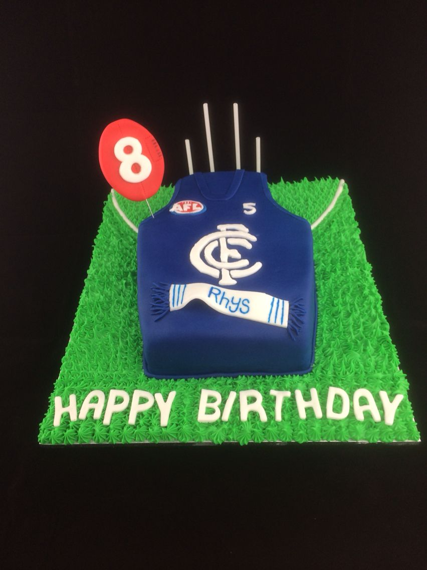 Carlton Football Club Jersey Birthday Cake Afl Cakeart Helmets