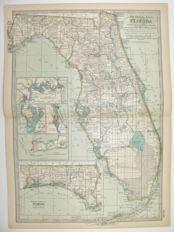 Antique Map Of Florida.Florida 1899 Antique Map Keys Key West Sunshine State Tampa