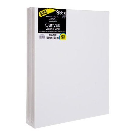 Bulk Stretched Canvas Value Pack: 16x20 White Art Canvases