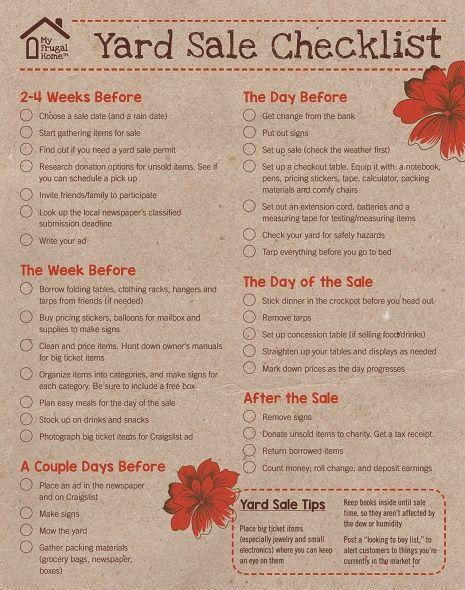 Printable Yard Sale Checklist: