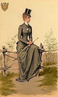 A riding habit is women's clothing for horseback riding. Since the mid-17th century, a formal habit for riding sidesaddle usually consisted of:  A tailored jacket with a long skirt to match. A tailored shirt or chemisette,  hat, and a top hat with a veil has been worn) Low-heeled boots, gloves, and often a necktie or stock complete the ensemble. Typically, throughout the period the riding habit used details from male dress, whether large turned cuffs, gold trims or buttons. #englishdresses1880