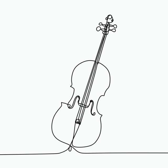 Single Line Drawing Of A Cello Classical Music Instrument For, Illustration, Drawing, Sketch PNG and Vector with Transparent Background for Free Download #musicalinstruments