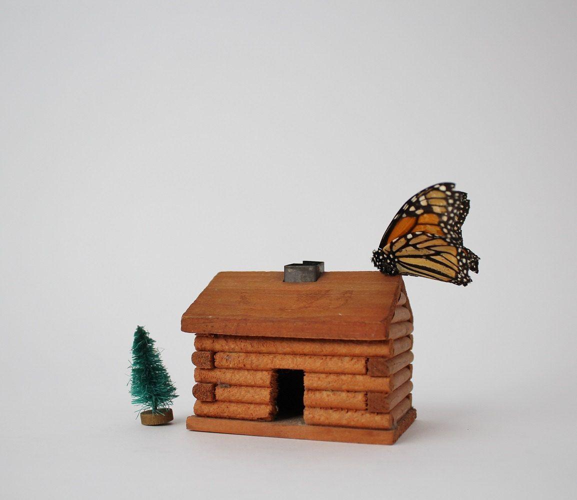 Vintage Miniature Log Cabin Incense Burner - Wooden Log Cabin Rustic ...