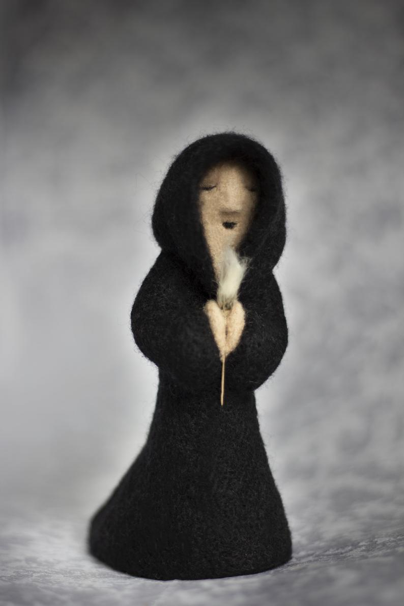 Photo of Monk figurine, Needle felted wool sculpture, Gothic home decor
