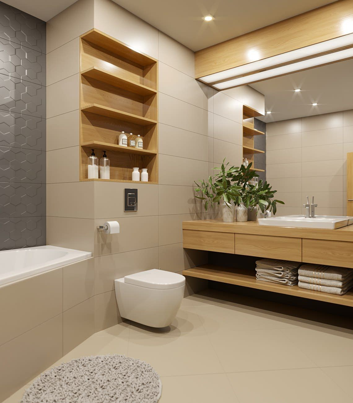 Bad Bauen Ideen Upotettu Hylly Kiva Kulmadesign Bathrooms In 2019 Bathroom