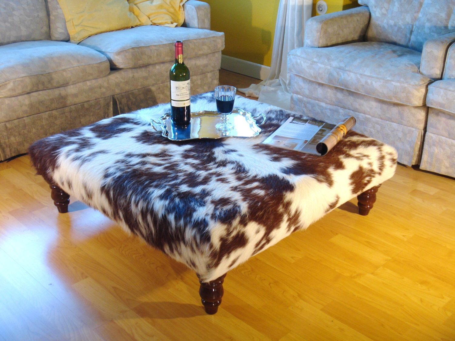 Cowhide Tablestool Footstool Ottoman Coffee Table By Moxbelox On Etsy