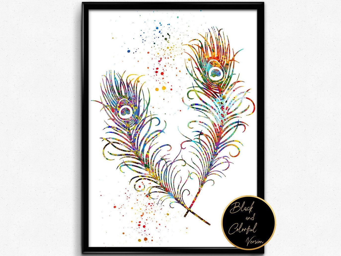 Peacock Feathers, Watercolor, Wall Hanging, Poster, Room