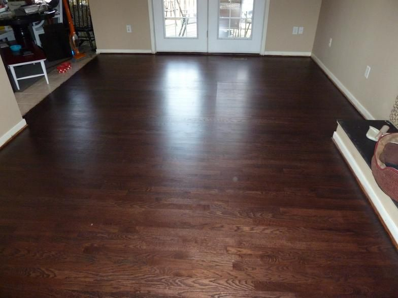White Oak Floor Sanded Water Popped And Stained With Red