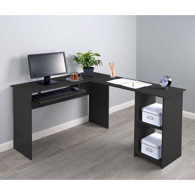 Fineboard Corner Keyboard Tray L Shaped Computer Desk Finish Black