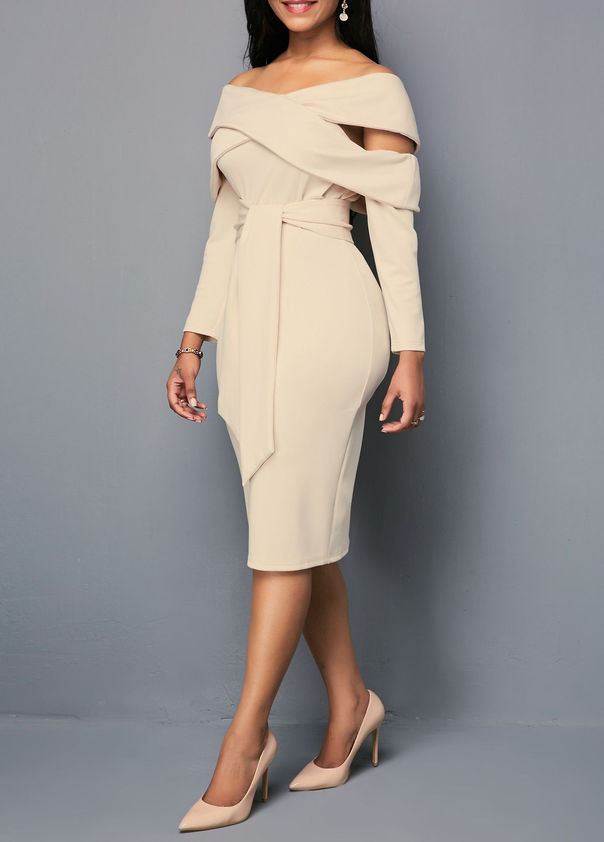 Off the shoulder zipper back sheath dress in a night on the