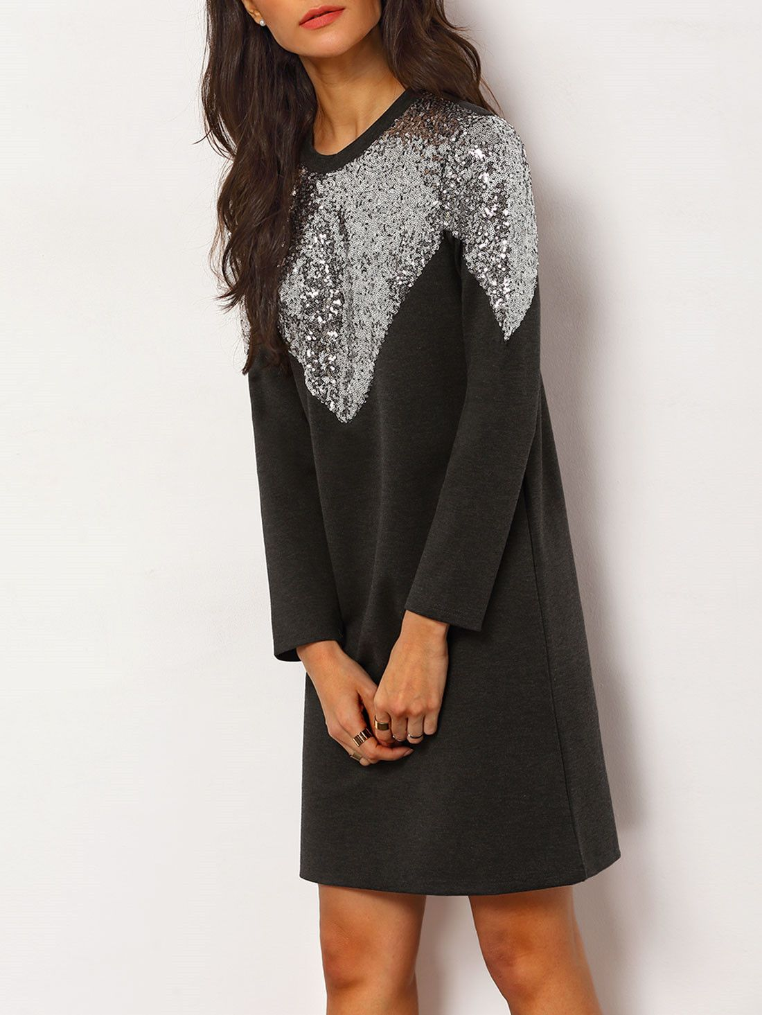 Black crew neck sequined slim dress dress online fall winter and
