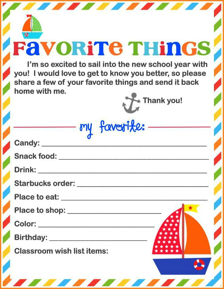 picture about Teacher Favorite Things Questionnaire Printable called Each day Blessings Instructor S Favourite Components Printable