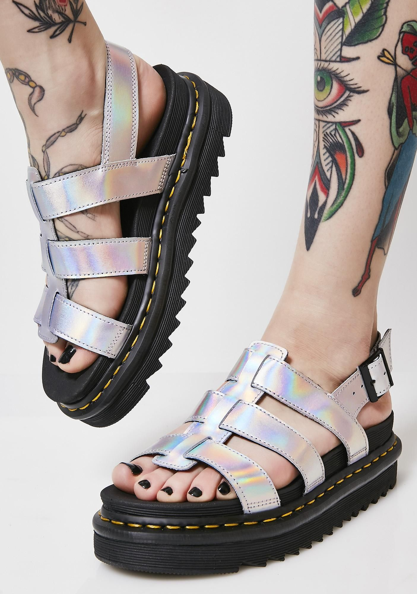 Dr. Martens Lazer Yelena Metallic Sandals at Dolls Kill 6df43231545