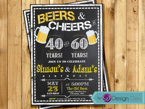 Adult Birthday Joint Party Invitation For Men Beers Cheer 21st 30th 40th 50th Any Age Bee