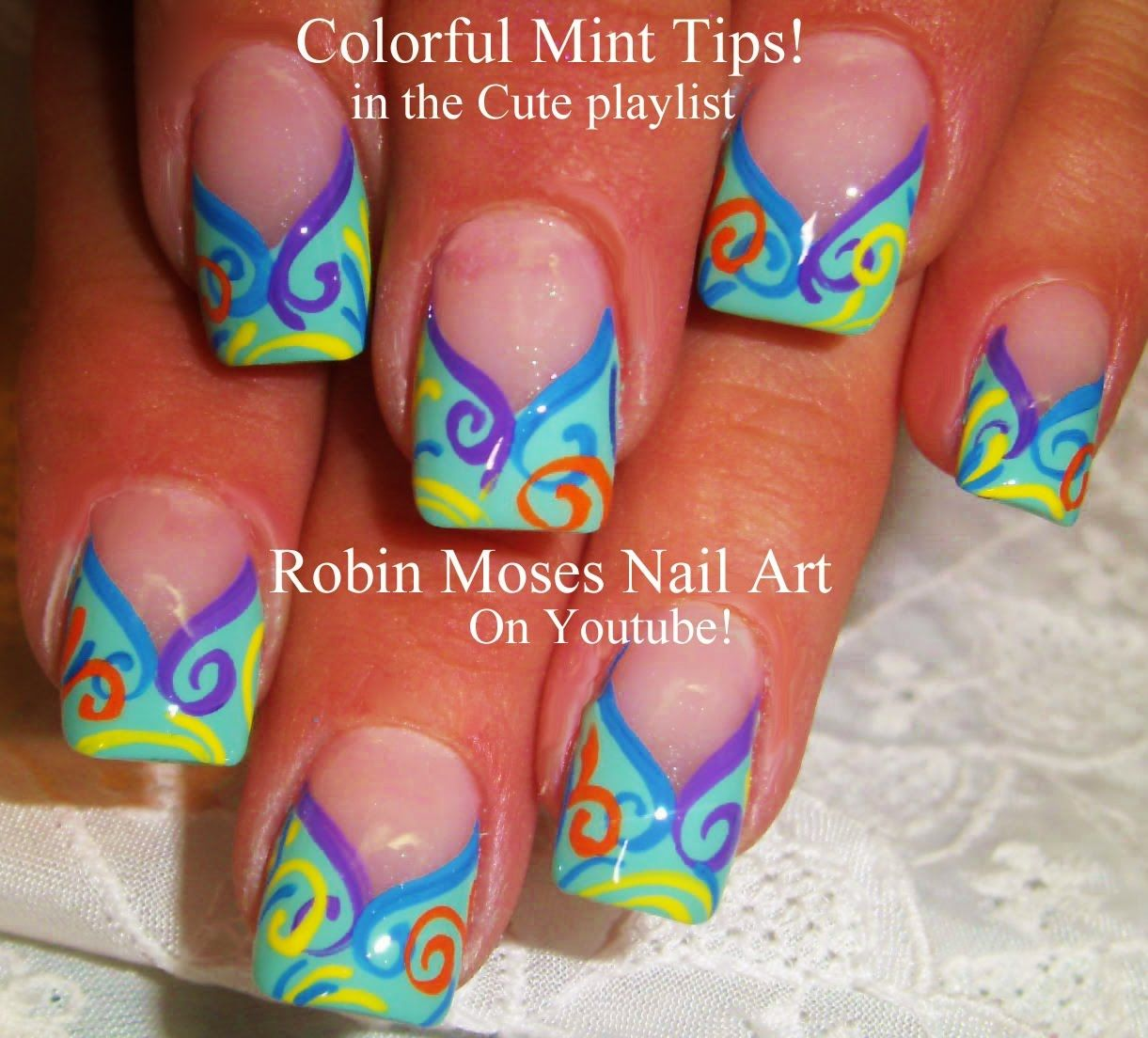 Nail Art Tutorial - Mint Tip nails designs with a Twist