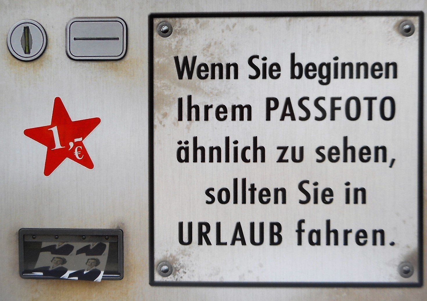 Passfoto Urlaub Automat Postkarte 15 cm Spruch Karte Sammelkarte ...