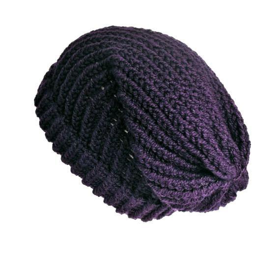 165cfee02d053 Purple knit slouchy beanie hat
