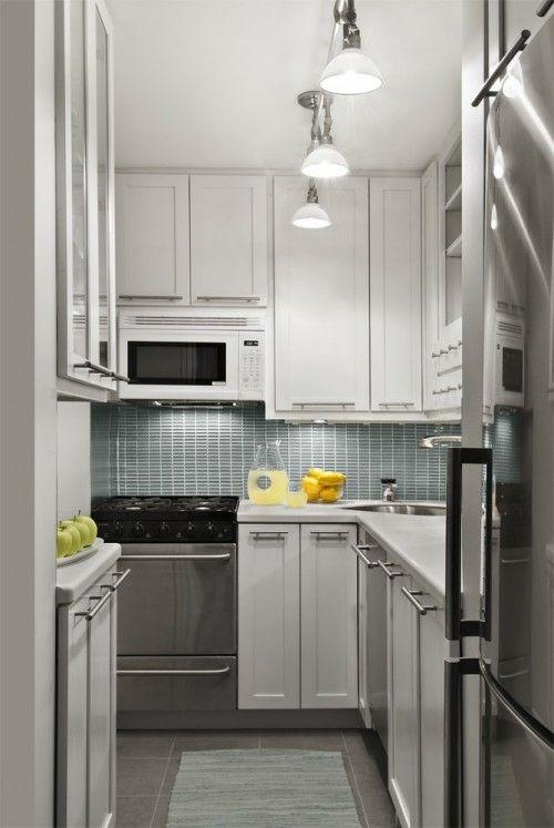 schicke design ideen für kleine küche - metall und holz | küchen, Kuchen