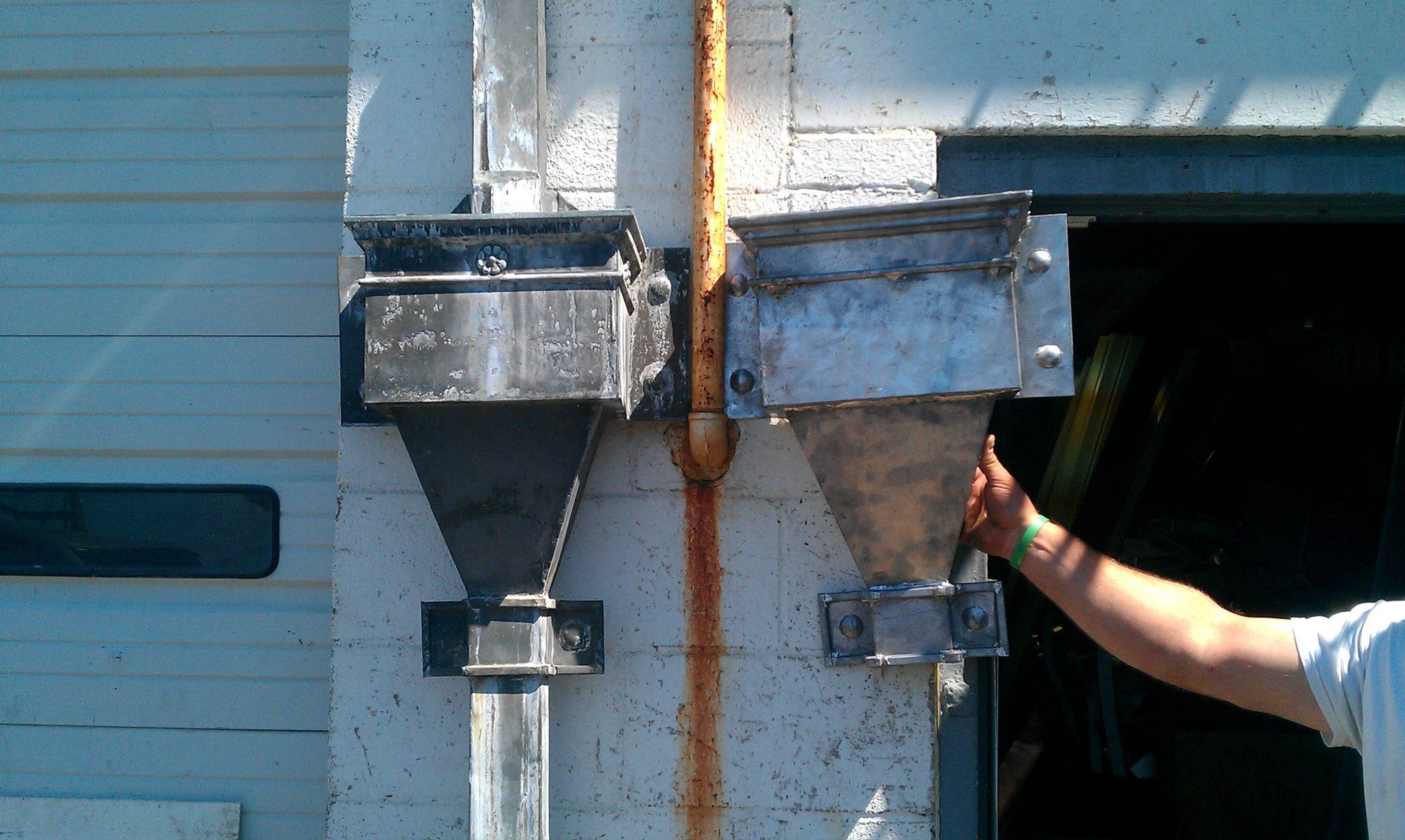 Lead Coated Copper Leader Heads To Match Existing One Sheet Metal Fabrication Metal Fabrication Copper Gutters