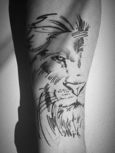 42420c9cd maybe make the lion tattoo look like a rough sketch. to make it look like a  piece of art and not a light line print