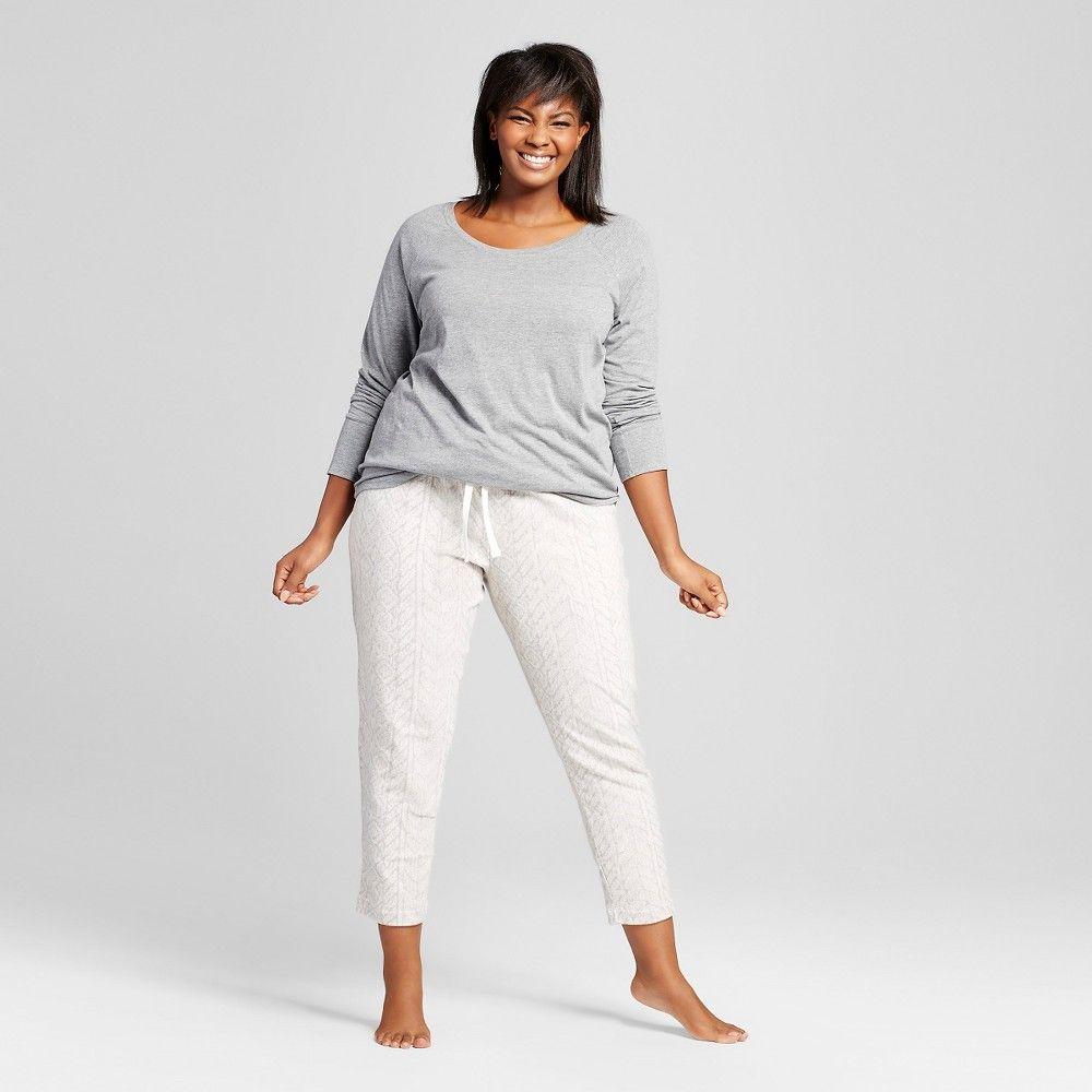 Women's Plus Size Plush Pajama Set Heather Grey 2X, Gray