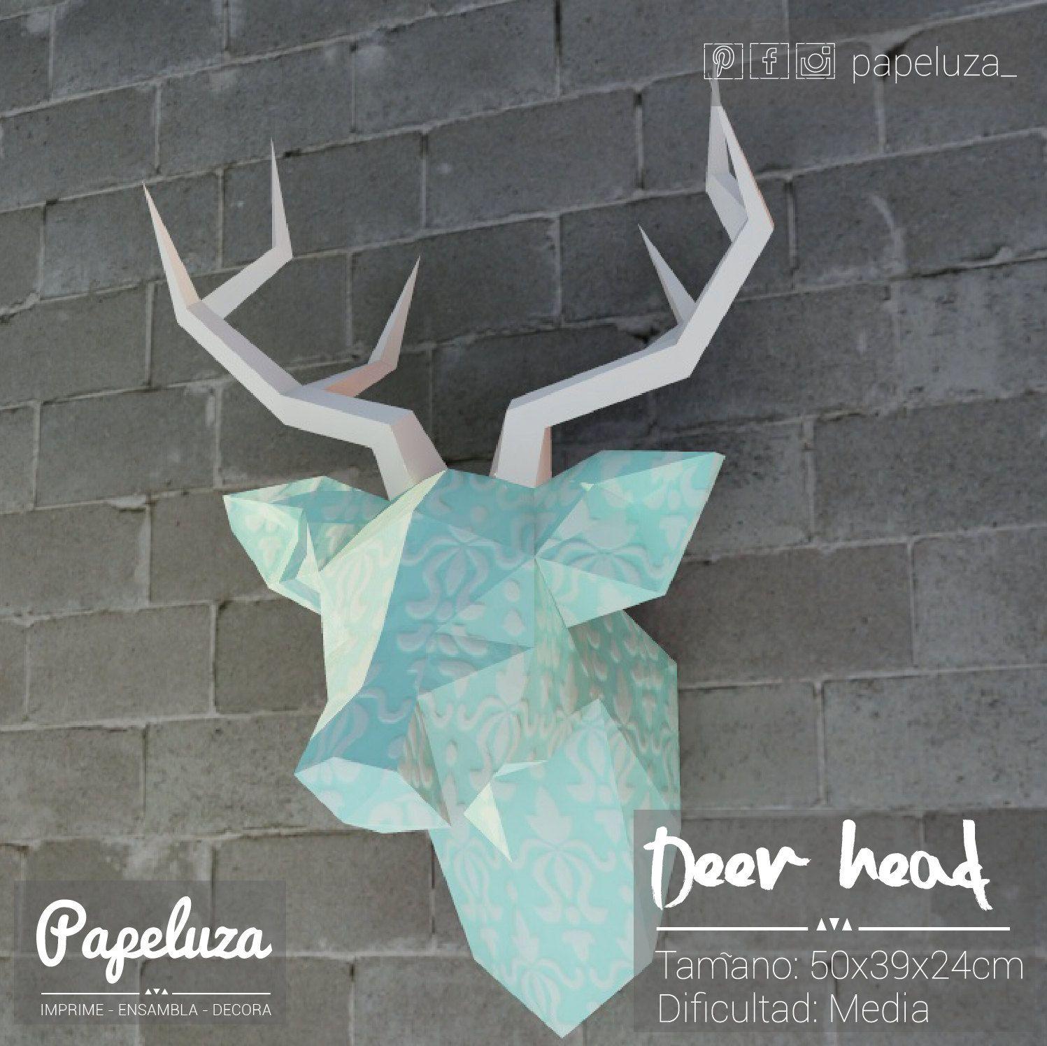 Deer head- plantilla cabeza de ciervo con textura - Diy papercraft ...