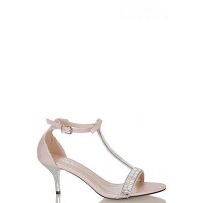 Quiz Pink Shimmer T-Bar Sandals | Heels