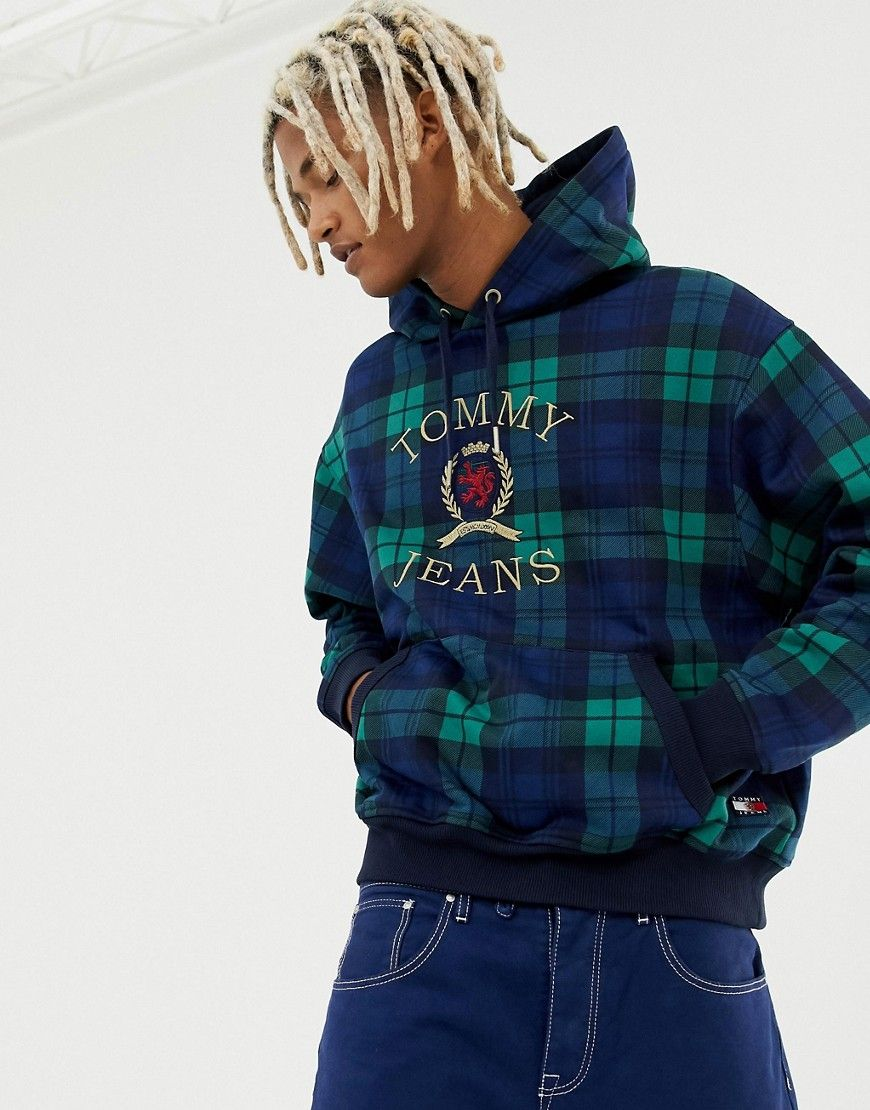 1eda63c7 TOMMY JEANS 6.0 LIMITED CAPSULE HOODIE WITH LARGE CREST LOGO IN PLAID -  NAVY. #tommyjeans