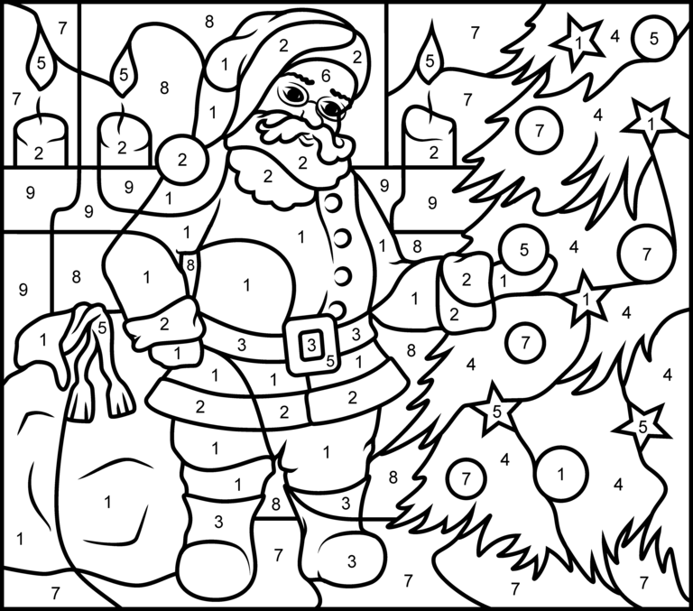 Santa Claus Printable Color By Number Page Hard Christmas Coloring Pages Christmas Present Coloring Pages Christmas Color By Number