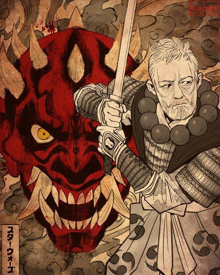 "6,854 Likes, 51 Comments - Starwars_Siths (@starwars_siths) on Instagram: ""Darth Maul & Obi Samurai Style  Artist: @kendallhaleart…"""