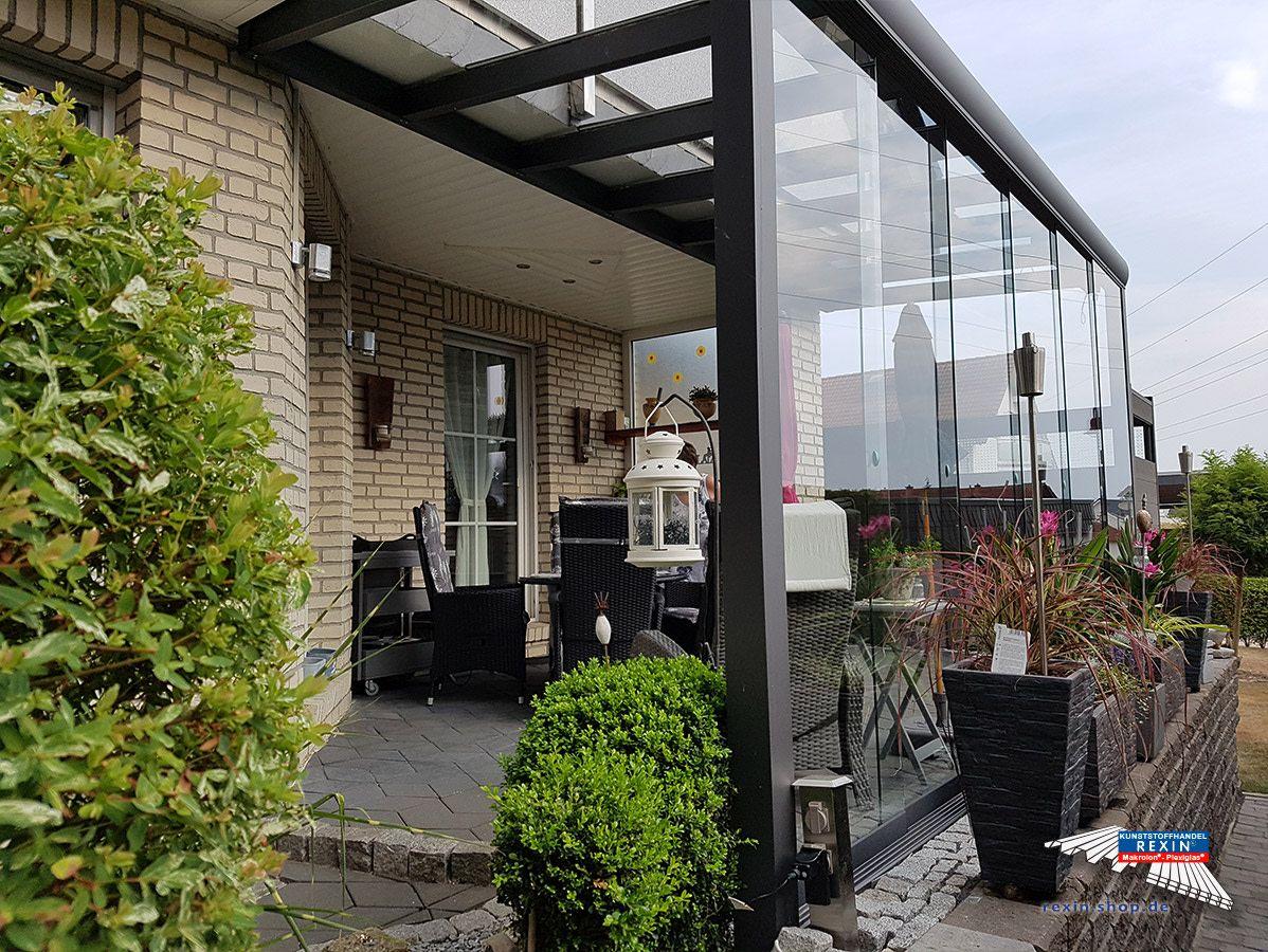 Ein Alu Terrassendach Der Marke Rexopremium Vsg 5m X 2m In Anthrazit Mit Vsg 8mm Dacheindeckung Passend Zur Edlen G Terrassendach Uberdachung Terrasse Pergola