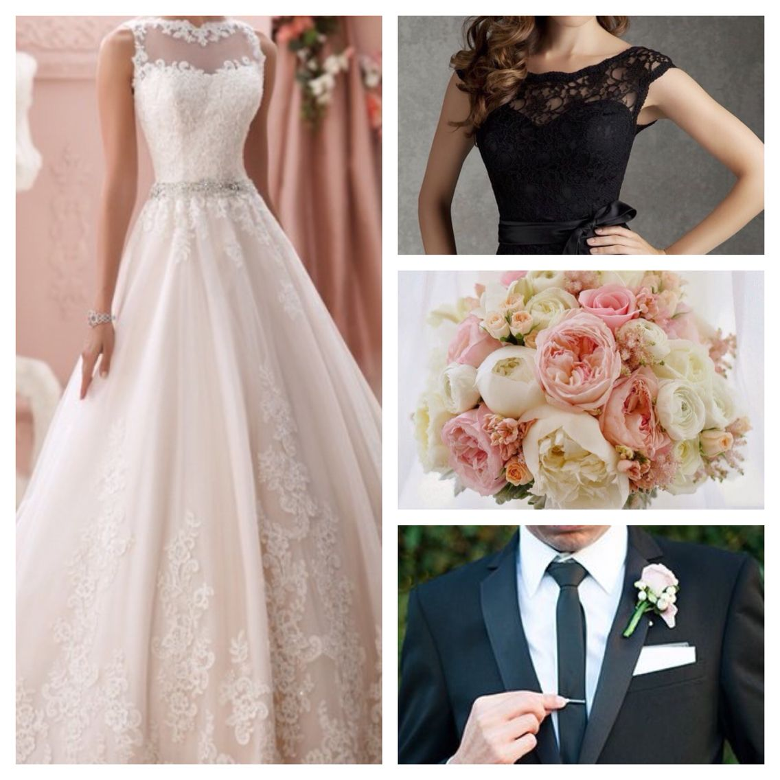 A David Tutera gown with a blush bouquet and black suits and bridesmaid dresses! Perfect combination! -Dream colors for a wedding!