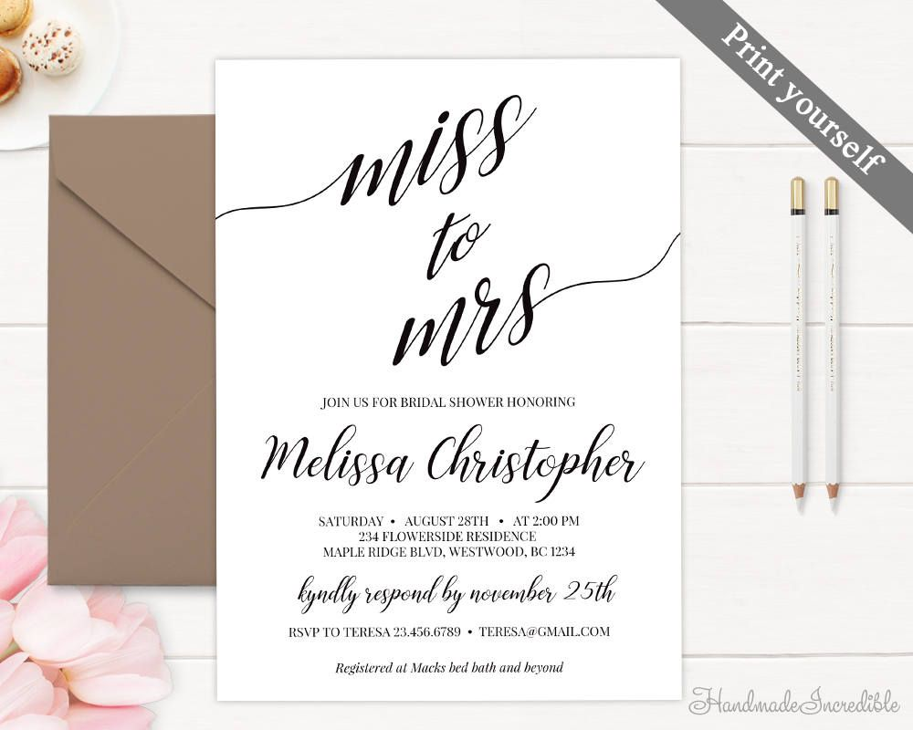 Rustic Bridal Shower Invitation Template Printable Bridal Shower