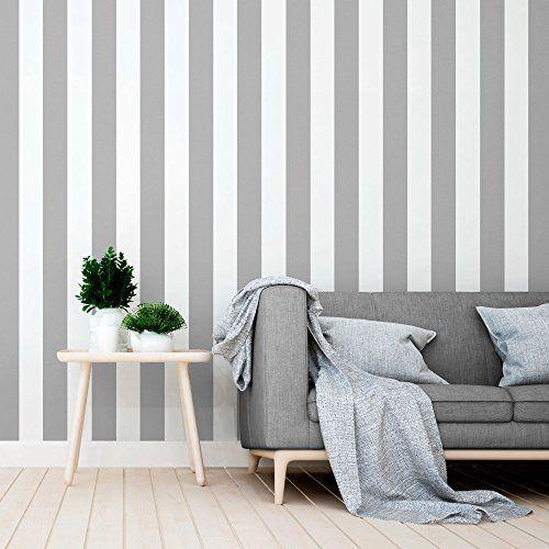 Papel pintado a rayas color gris. | Papel pintado para la pared ...