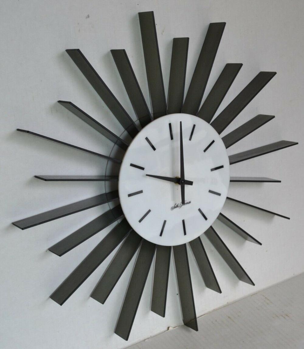 Sundown Mid Century Mod Seth Thomas Wall Clock Black White Plexiglass Starburst Ebay In 2020 Wall Clock Black And White Mid Century Clock Clock
