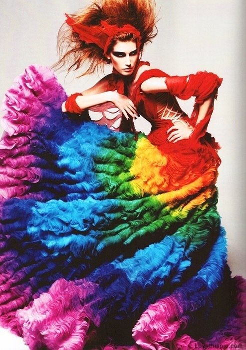 Wild with Color fashion colorful dress rainbow wild model gown alexander mcqueen