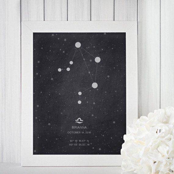 Libra Constellation Print, Birth Print, Printable Art