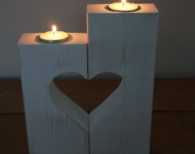 Love Heart Candle Holders - Wooden heart - home decor - new home gift