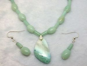 Free Form Amazonite Pendant ON Long Hand Made Natural Amazonite Beaded SET | eBay