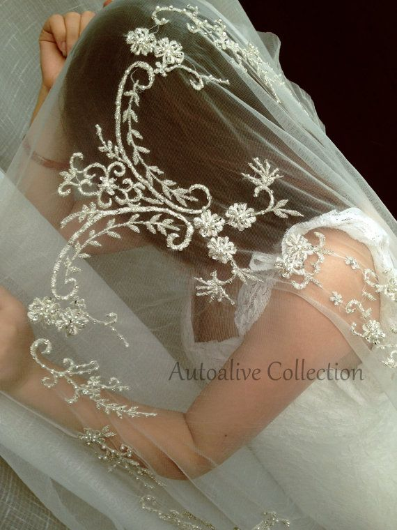 White/Ivory Embroidery Lace Beading Beaded Wedding by autoalive, $129.00