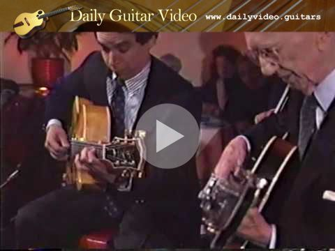 """Howard Alden & George Van Eps - Just You, Just Me - http://dailyvideo.guitars/howard-alden-george-van-eps-just-you-just-me/ -  Howard Alden & George Van Eps play """"Just You, Just Me"""" in 1991 at the Vine Street Bar and Grill in Hollywood."""