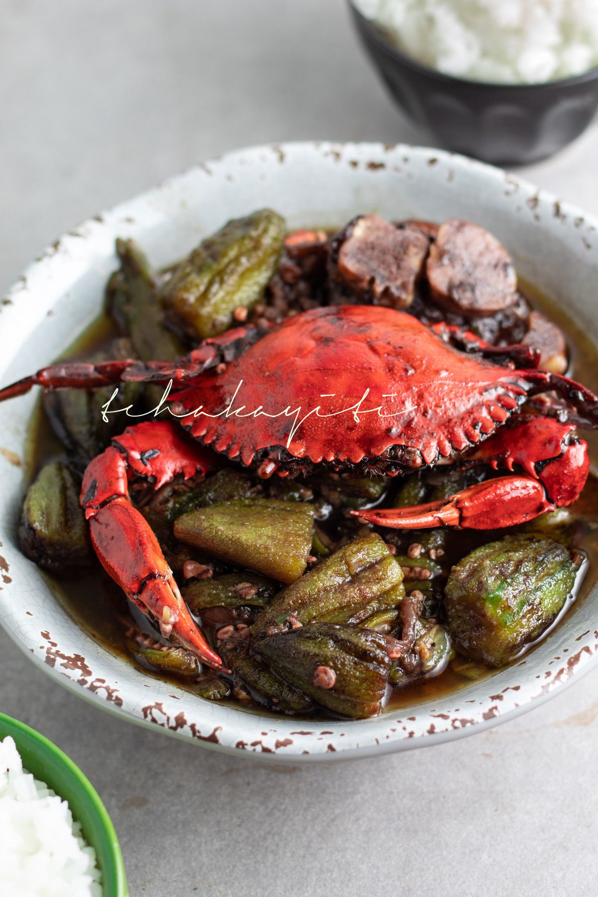 Haitian Style Okra Stew Infused With Blue Crab Tchakayiti Recipe In 2020 Haitian Food Recipes Okra Stew Stuffed Peppers