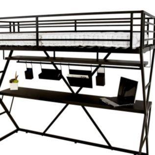 Lit Mezzanine 90x200cm Avec Bureau Et Accessoires Pour Lit