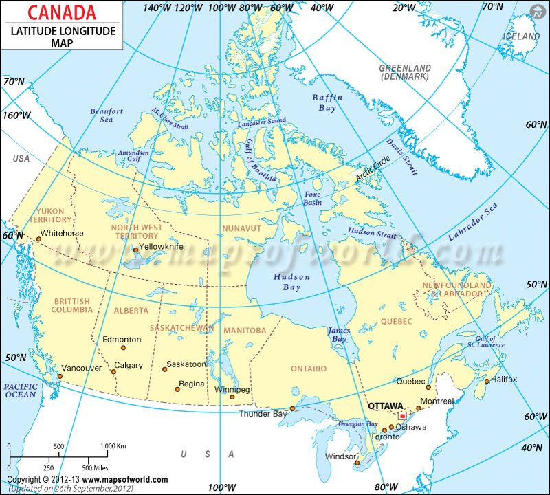 Map Of Canada Latitude And Longitude Lines Canada Latitude and Longitude Map | Latitude and longitude map
