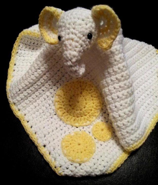 elefante crochet manta objeto de consuelo patrón libre   Mantas de ...