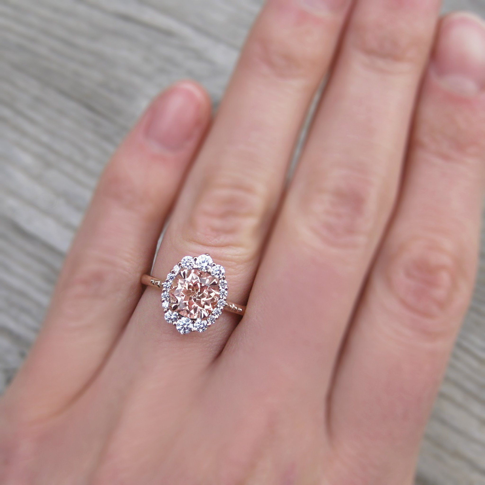 Peach Sapphire Engagement Ring with Diamond Halo (2.15ct)   Rings ...