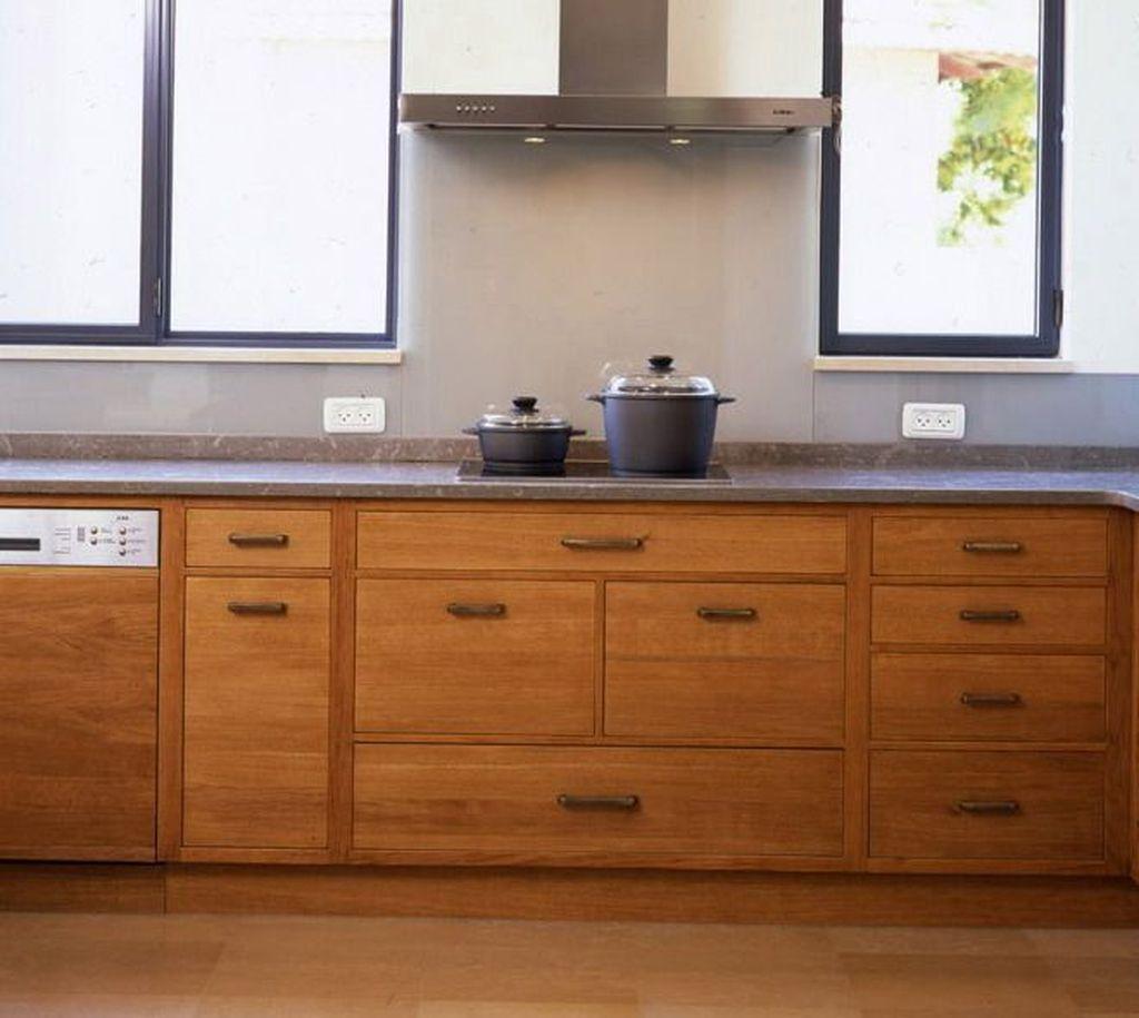30 Popular Wooden Cabinets Design Ideas For Your Kitchen Decor Pimphomee Slab Cabinets Slab Door Kitchen Slab Cabinet Doors
