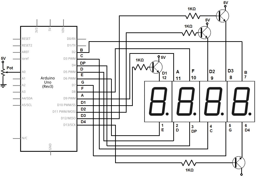 image result for 4 digit 7 segment display pin configuration [ 1074 x 760 Pixel ]
