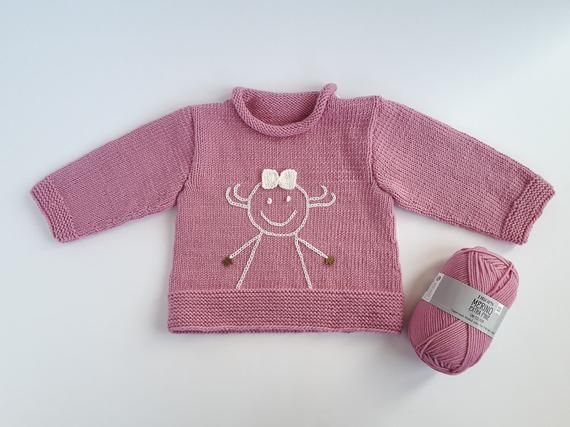 Photo of MADE TO ORDER/ Hand knitted baby girl sweater with embroidered smile/ Merino wool